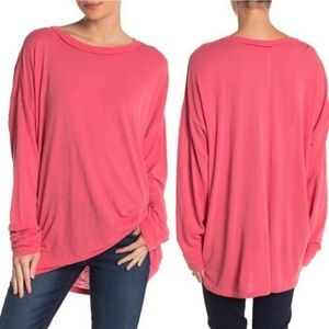 Free People Moxie Oversized Coral Tunic Top XS